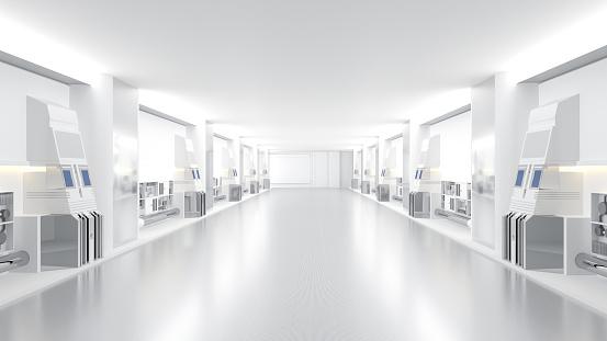 spaceship or science lap, sci-fi corridor