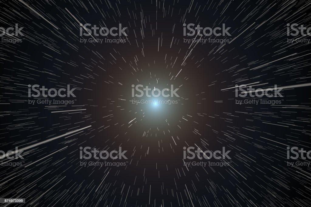 Spaceship Traveling, Stars Moving stock photo