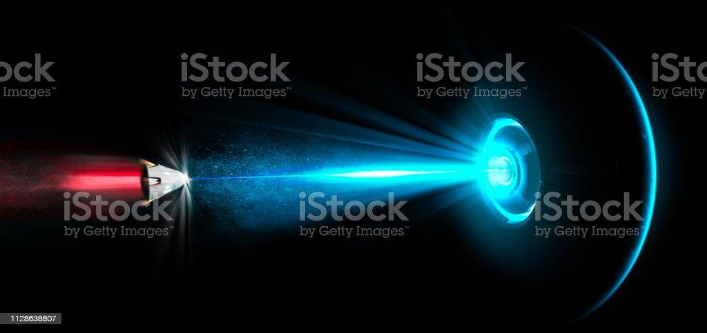 Raumschiff, UFO, Traktorstrahl. Räumliche Modul von einem Laserstrahl getroffen. Strahl des Lichtes. Abstoßend Strahl. Galaktische Schlachten. Science fiction – Foto