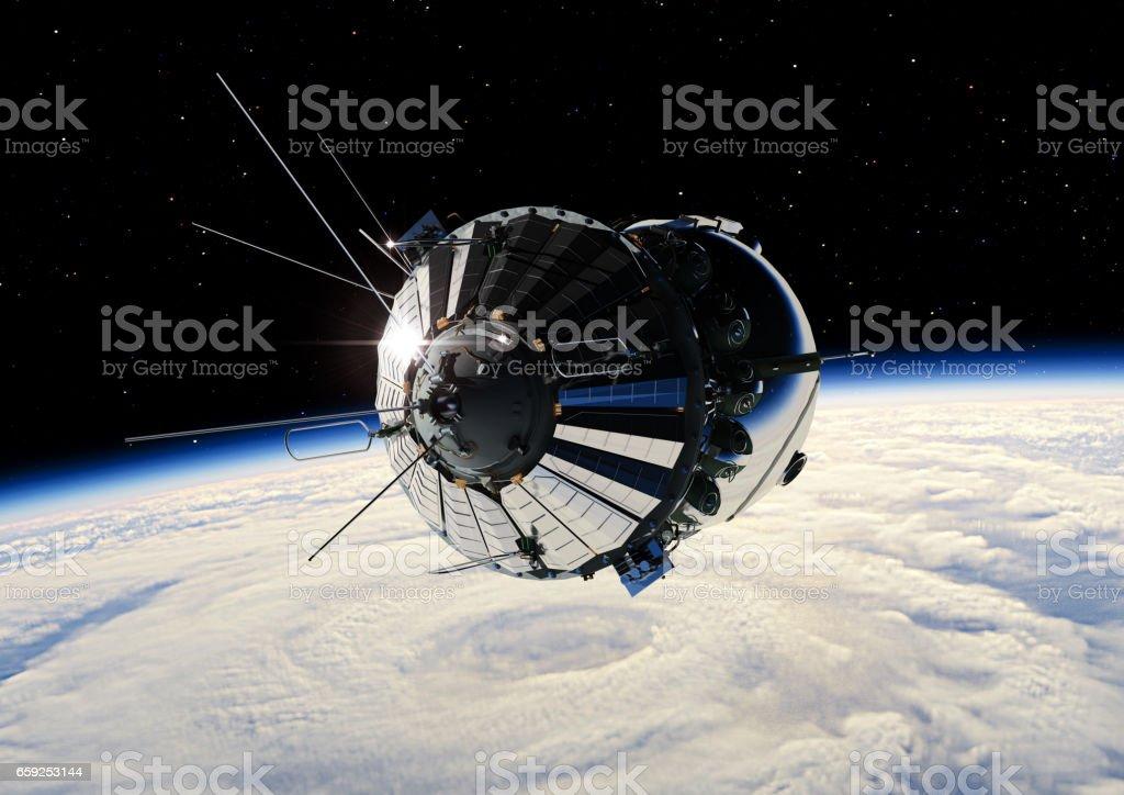 Spaceship Vostok1 at the Earth orbit stock photo
