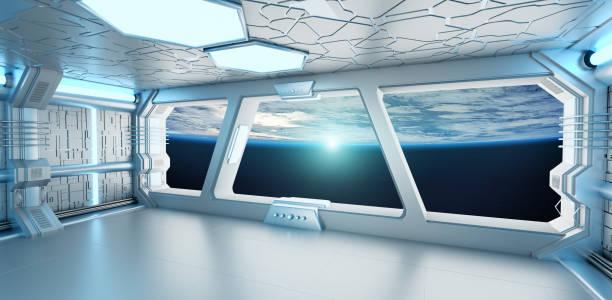raumschiff weiß und blau innenmit blick auf den weltraum und planet erde 3d rendering - eingangshalle wohngebäude innenansicht stock-fotos und bilder