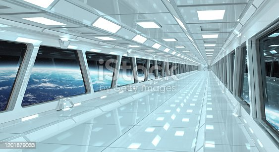 Spaceship white corridor with view on space and planet Earth 3D rendering elements of this image furnished by NASA