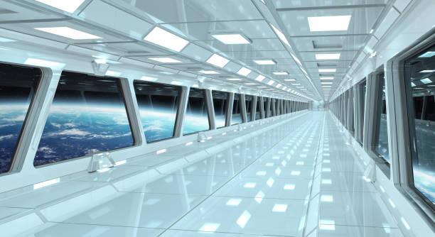raumschiff weißer korridor mit blick auf den weltraum und planet erde 3d rendering-elemente dieses bildes von der nasa eingerichtet - eingangshalle wohngebäude innenansicht stock-fotos und bilder