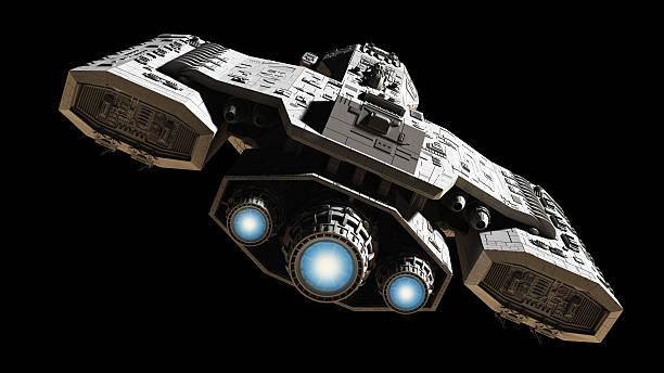 vaisseau spatial avec éclat bleu moteur - vaisseau spatial photos et images de collection