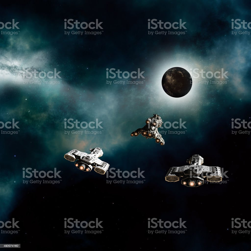 Spaceships Approaching a Dark Planet stock photo