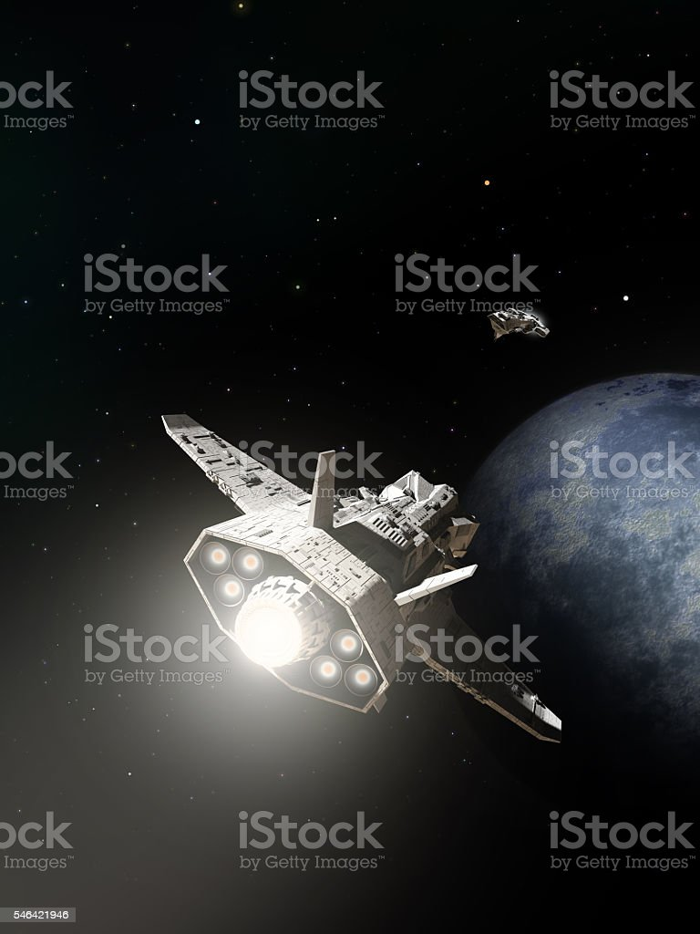 Spaceships Passing on Planetary Approach stock photo