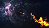 Space-time curvature, flew up to the black hole, event horizon, space background