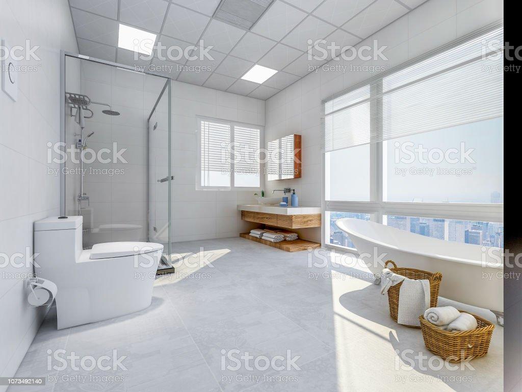Ruime En Lichte Badkamer Met Badkuip Glas Van Douche Toilet