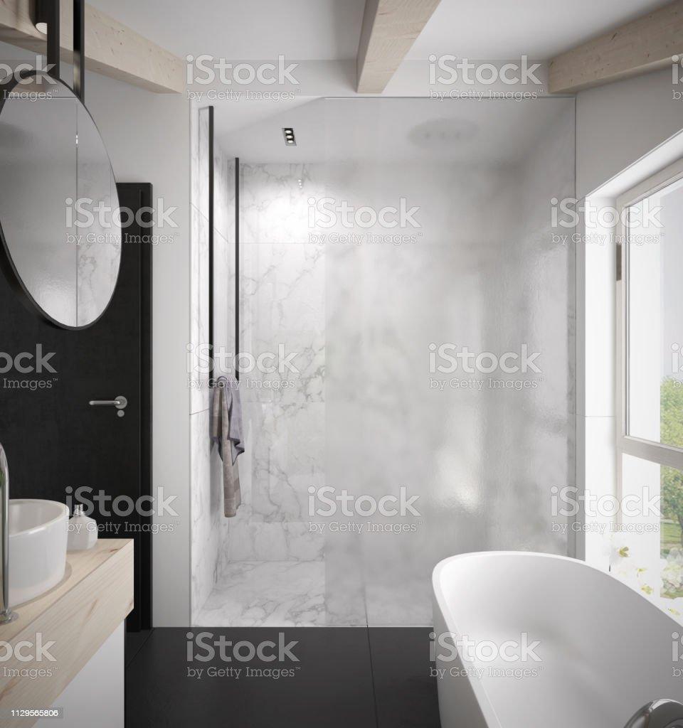 Geräumiges Und Helles Modernes Badezimmer Mit Duschkabine Mit ...