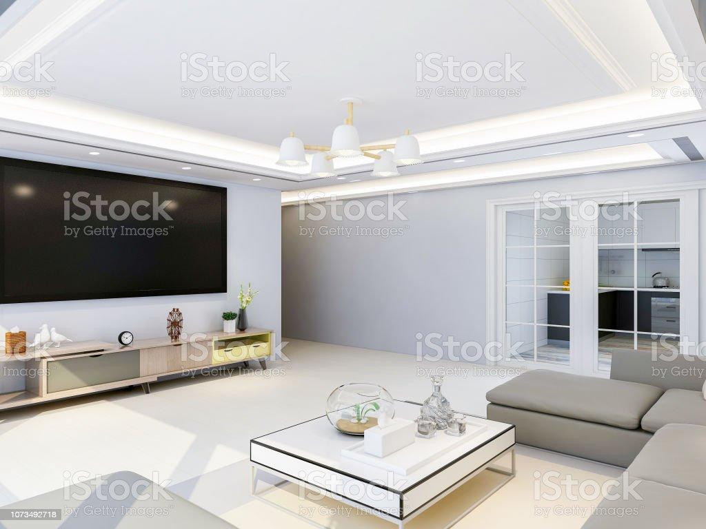 Geräumige Und Helle Moderne Wohnzimmer Design Mit Tv Sofa Und ...