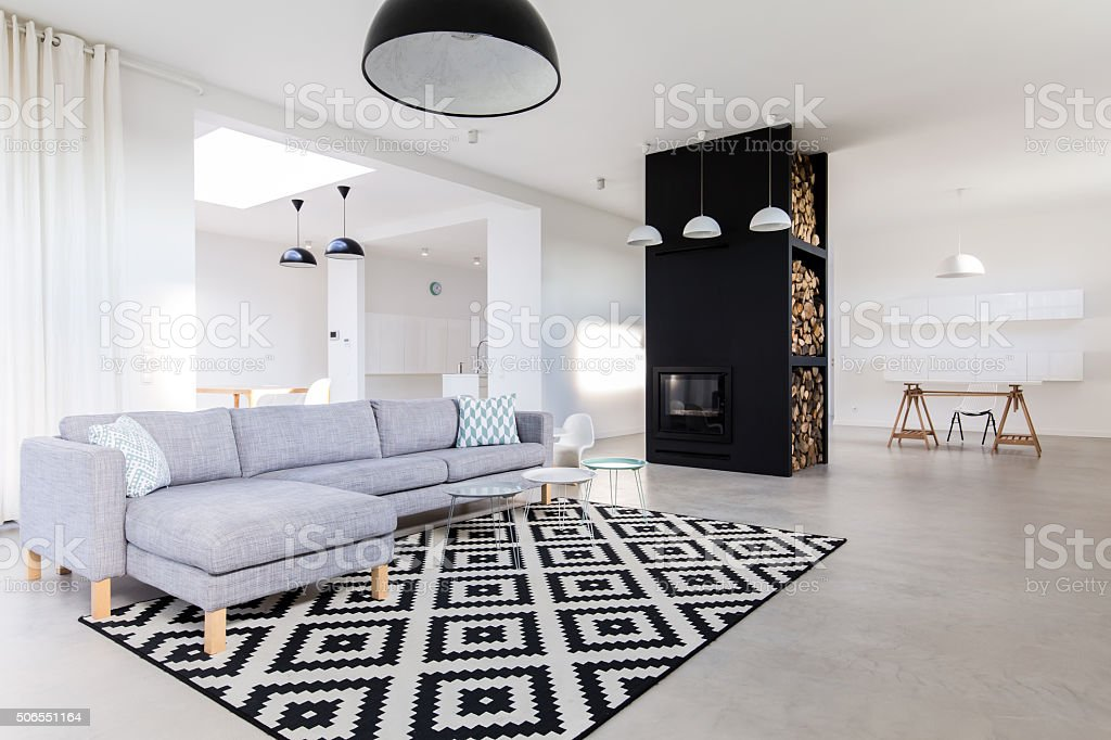 Spacious and tasteful room stock photo
