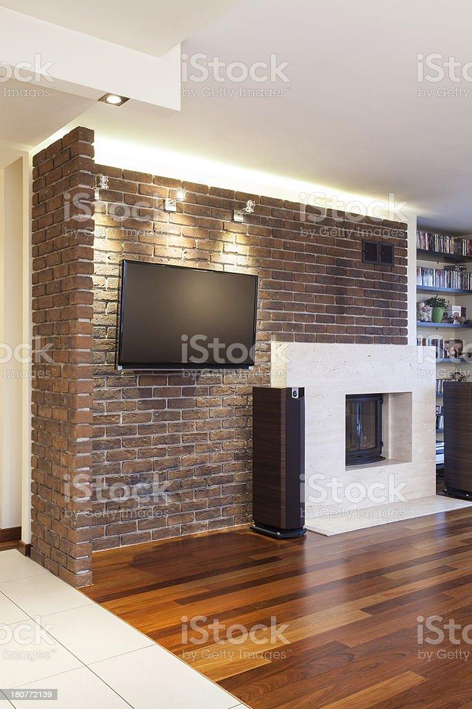 Spacious apartment - Brick wall royalty-free stock photo