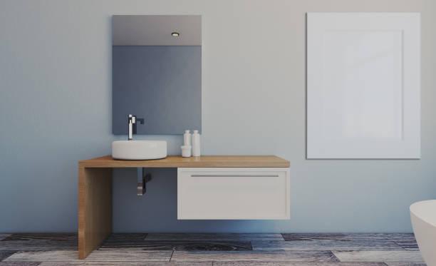 Espaçosa casa de banho em tons de cinza com piso aquecido, banheira autônoma. Renderização em 3D... Pinturas em branco.  Maquete. - foto de acervo
