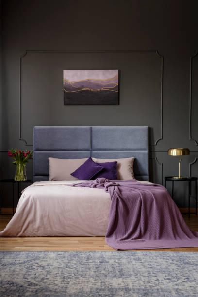 geräumiges schlafzimmer innenraum mit malerei - pflaumen wände stock-fotos und bilder