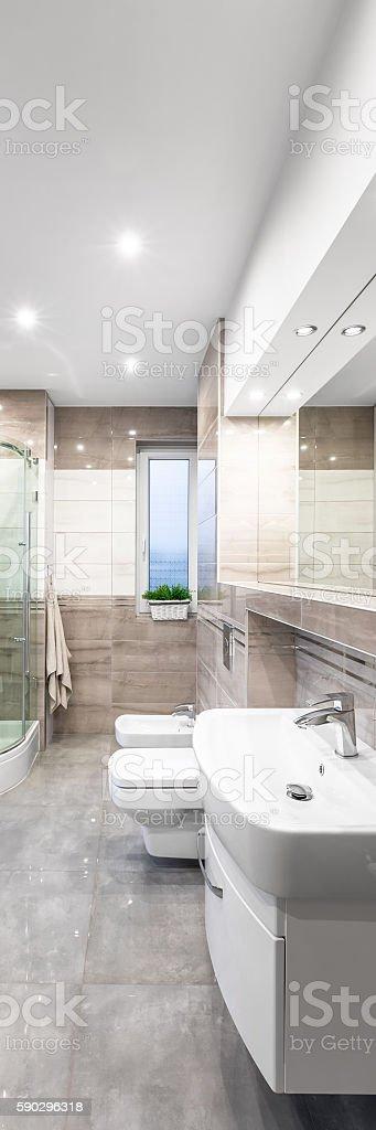 Spacious beige bathroom royaltyfri bildbanksbilder