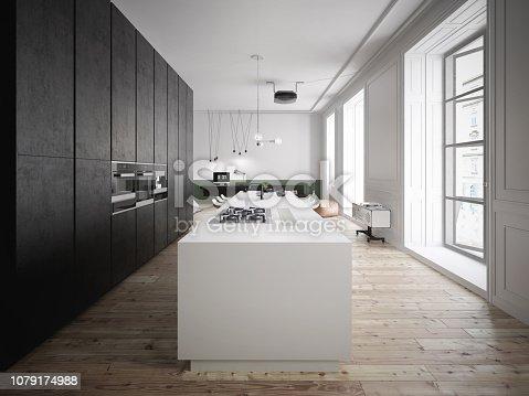 istock Spacious black and white kitchen in luxury interior 1079174988