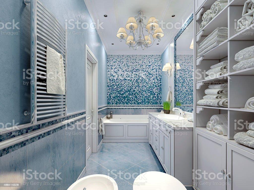Spacious blue bathroom classic style stock photo