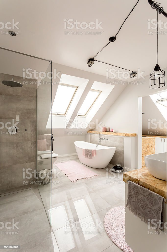 Spacious bright bathroom stock photo