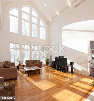 istock Spacious bright family room with cathedral ceiling and window wall 638598340