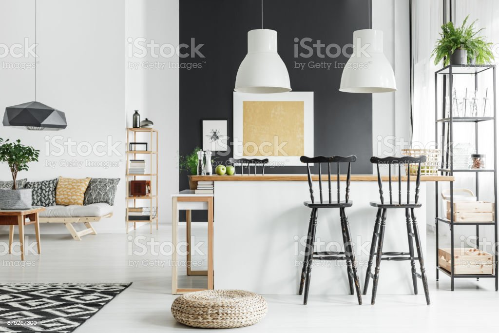Spacious chic rustic living room stock photo
