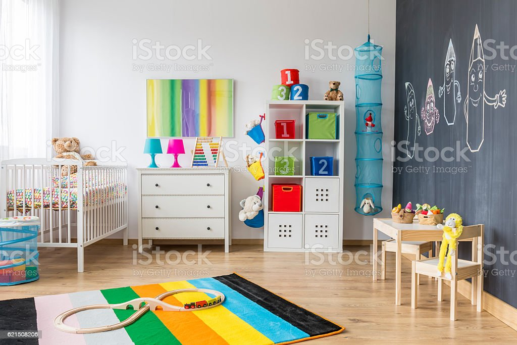 Spacious colorful child room foto stock royalty-free