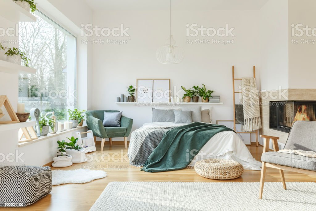 Spacious, furnished bedroom interior stock photo
