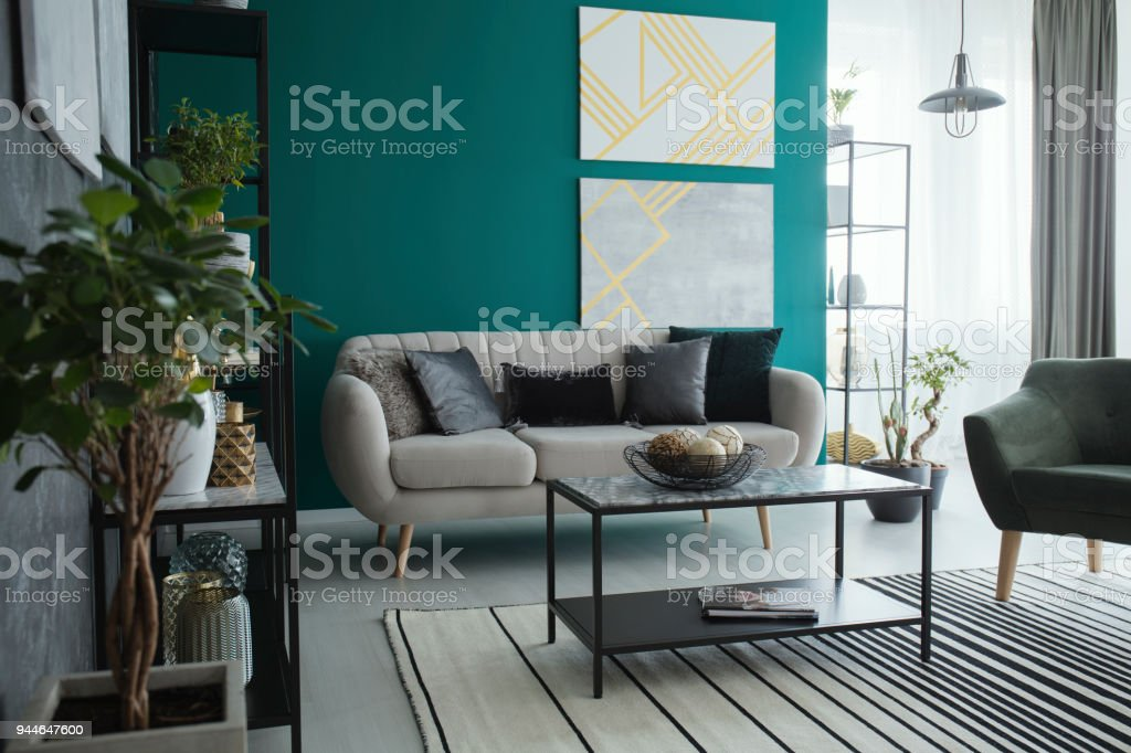 Spacious green living room interior stock photo