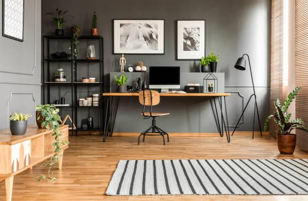 Spacious grey workspace interior stock photo