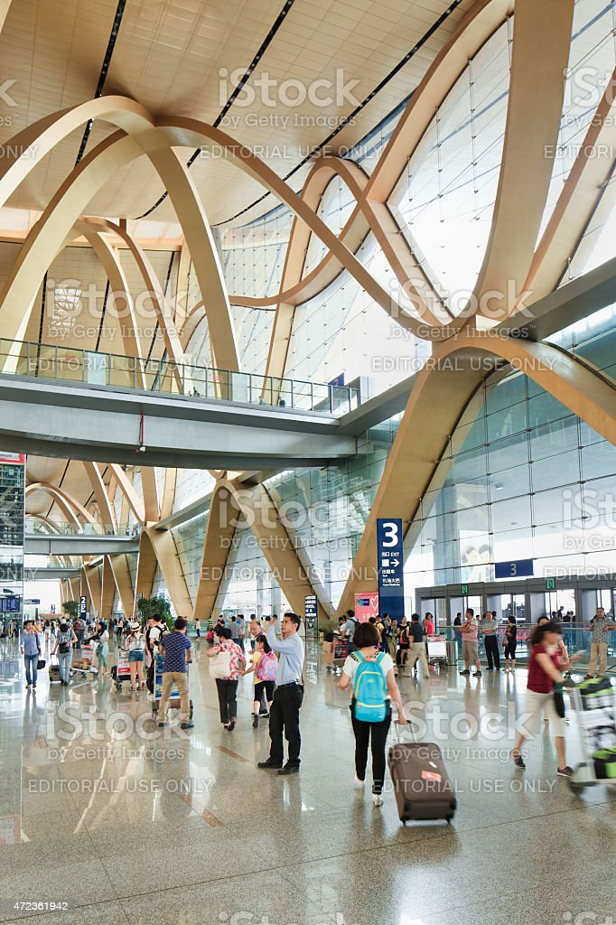 Spacious interior of Kunming Changshui International Airport stock photo