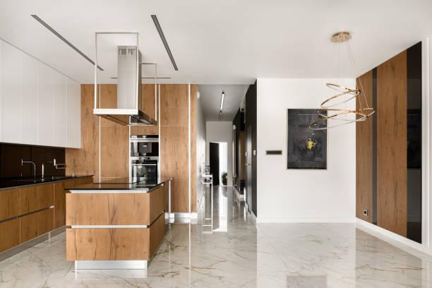 Spacious kitchen with island stock photo