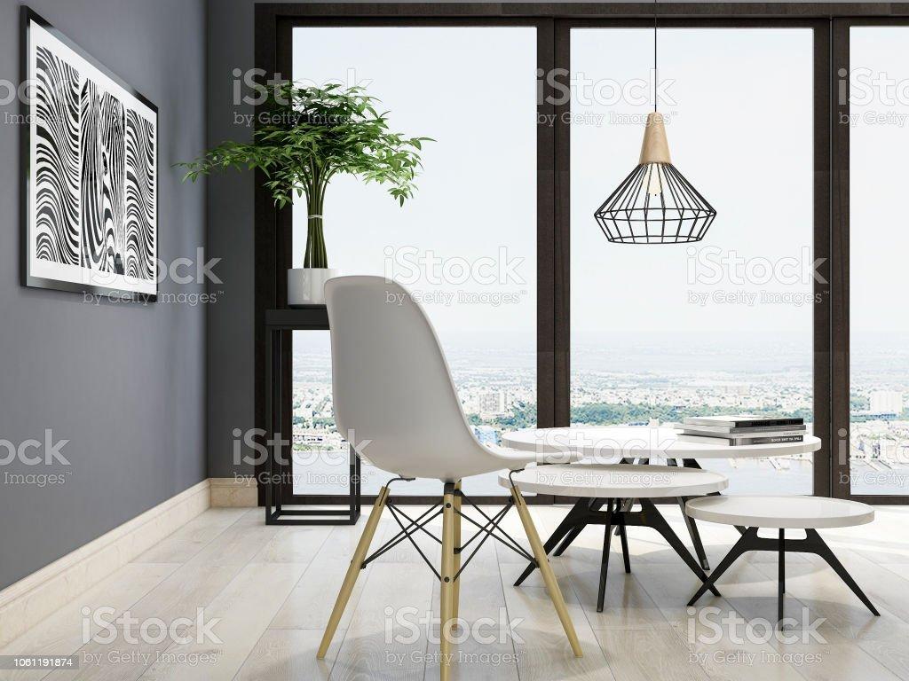 Spacious Living Room Design In Modern Minimalist Style Black