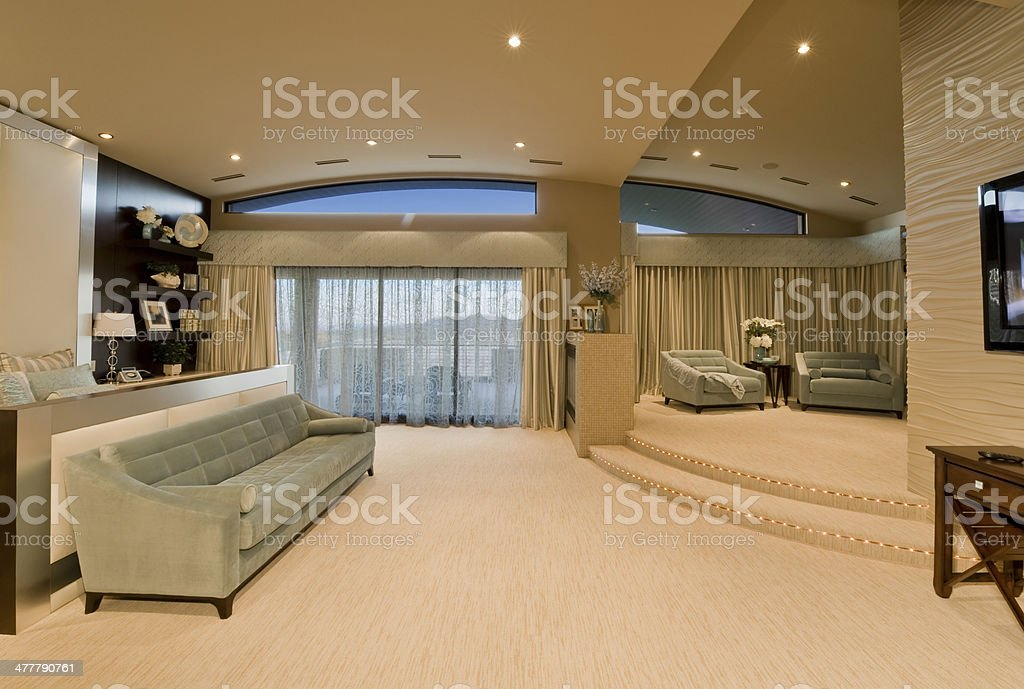 Spacious Living Room In Hotel stock photo