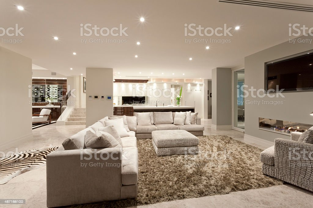 Spacious living room with a big carpet stock photo