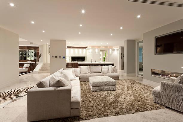 Geräumiges Wohnzimmer mit einem großen Teppich – Foto