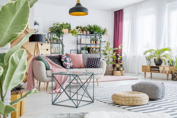 spacious living room with plants - decor stock photos and pictures