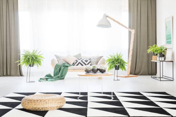 geräumiges wohnzimmer mit hocker - oliven wohnzimmer stock-fotos und bilder
