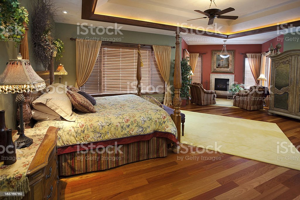 Spacious Master Bedroom With Sitting Area Lighted Tray ...