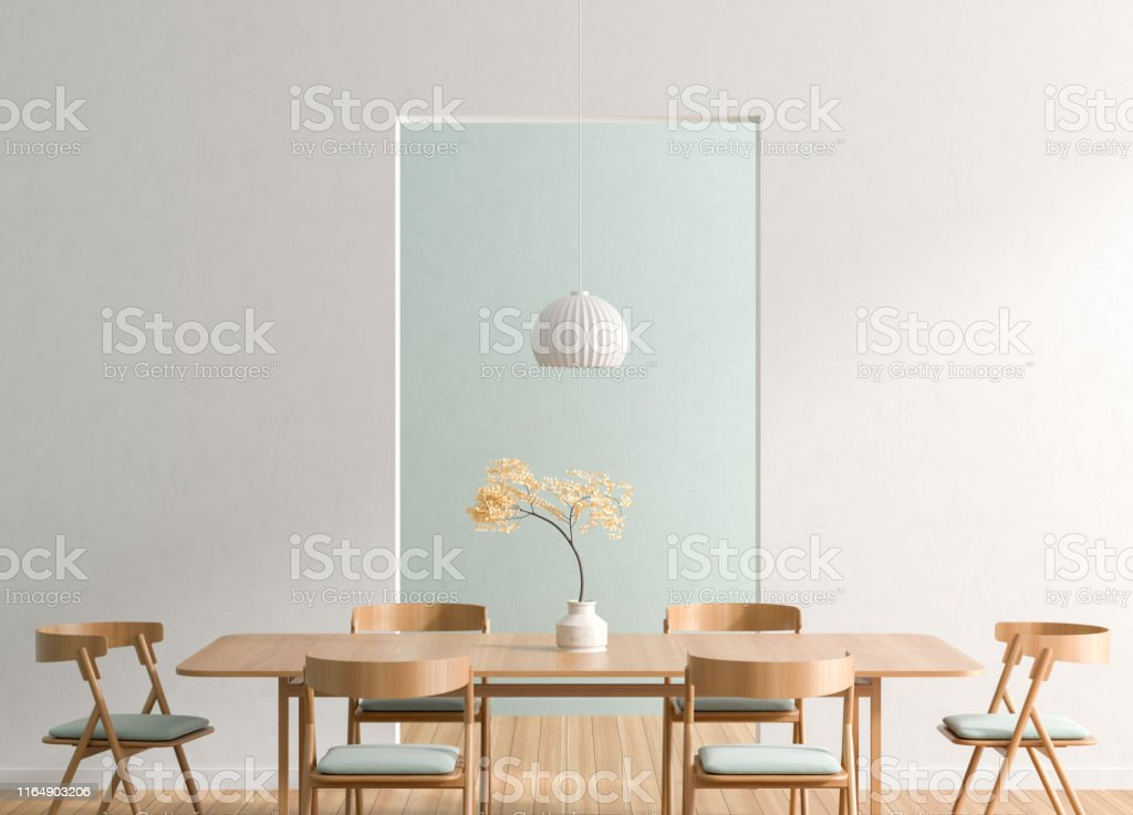 Spacious Modern Dining Room With Wooden Chairs And Table Minimalist Dining Room Design 3d Illustration Stock Photo Download Image Now Istock