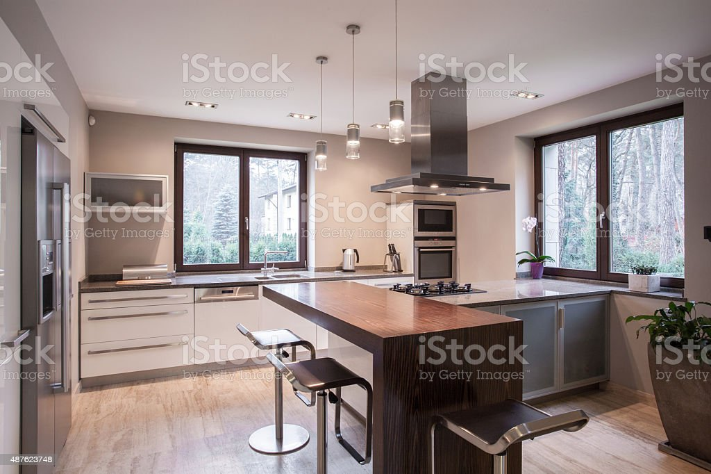 Spacious modern kitchen interior stock photo