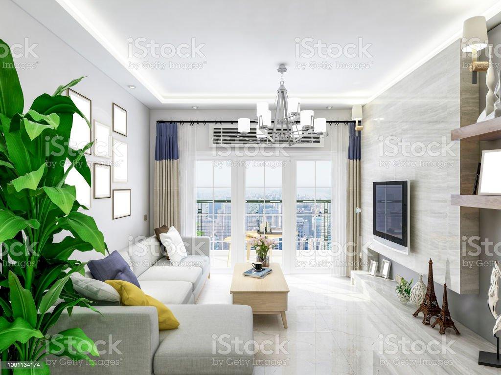 Moderne Wohnzimmer Design Sofa Couchtisch Und Tv Mit Grünpflanzen ...