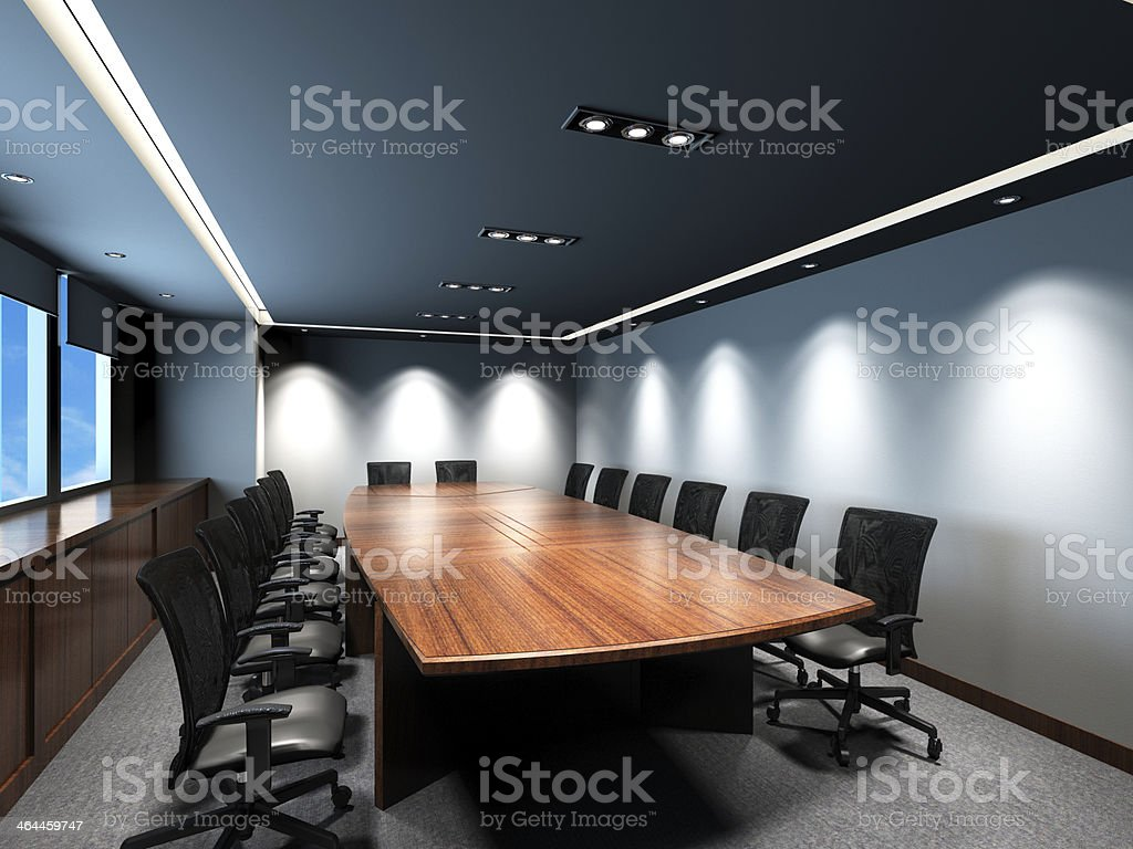 Spacious modern office conference room with spotlights stock photo