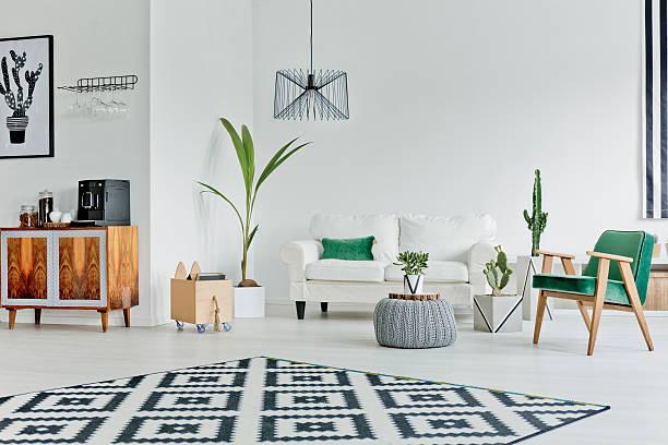 spacious room with pattern carpet - escandinavo - fotografias e filmes do acervo