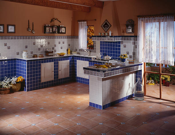 Spacious Rustic Kitchen Cottage kitchen made up of ceramic tiles grifare stock pictures, royalty-free photos & images