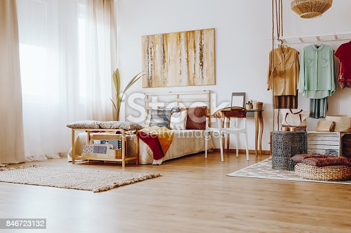 istock Spacious sandy bedroom 846723132