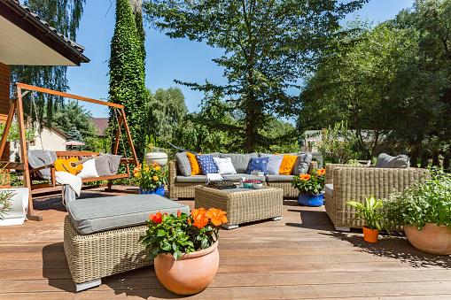 Spacious Villa Terrace With Rattan Furniture Stock Photo ...
