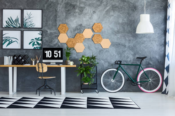 Spacious work area with bicycle stock photo