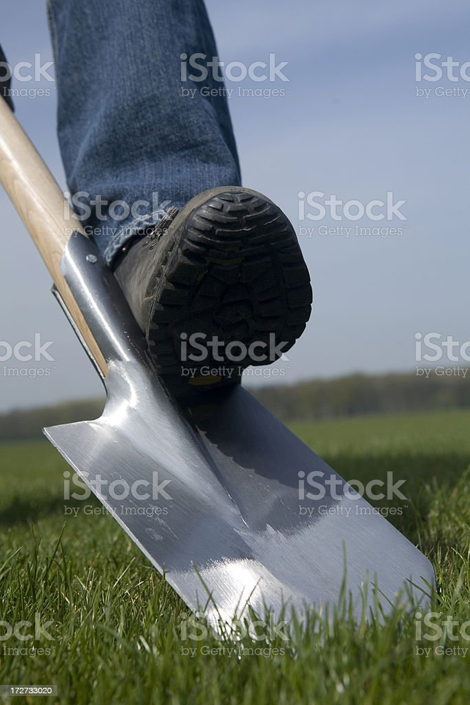 Spade with boot stock photo