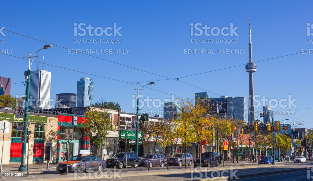 Spadina Avenue in Toronto during the day stock photo