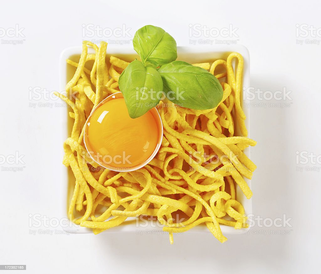 Spaetzle, traditional german noodles in a bowl royalty-free stock photo