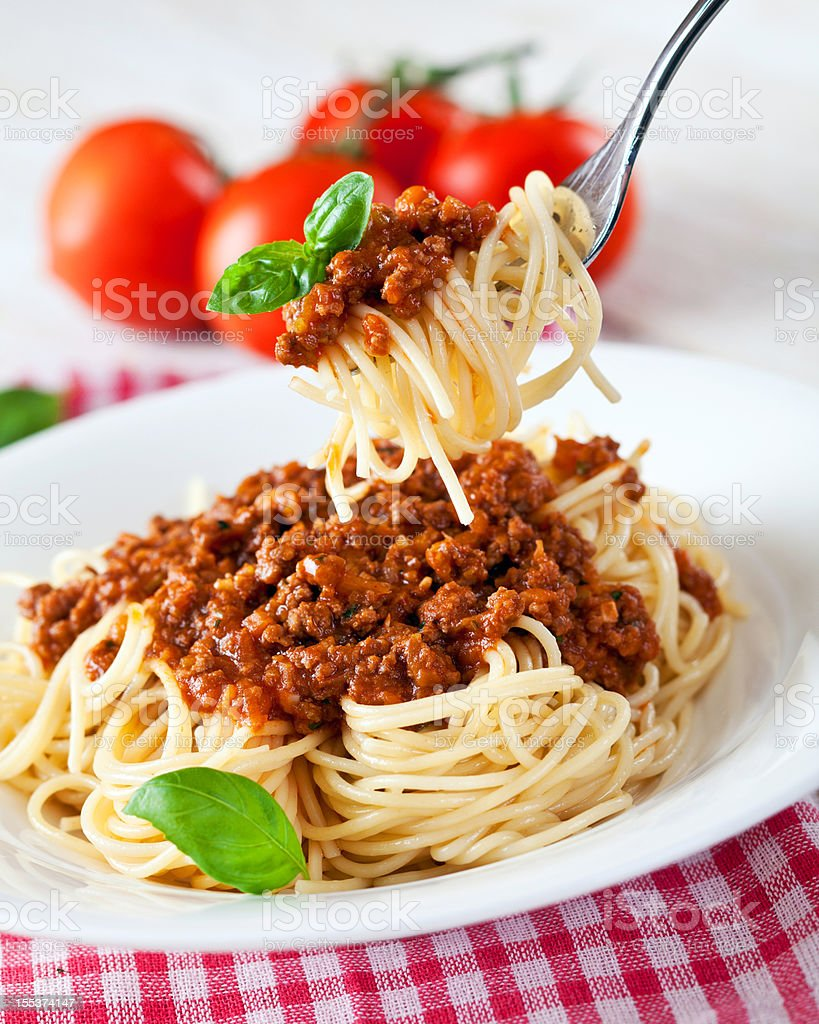 Spagetti Bolognese with Basil royalty-free stock photo